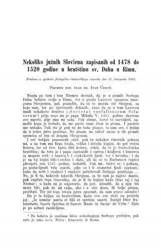 Nekoliko južnih Sloviena zapisanih od 1478. do 1520. godine u bratštinu sv. Duha u Rimu / Ivan Črnčić