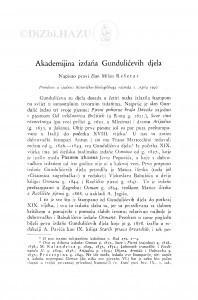 Akademijina izdanja Gundulićevih djela / Milan Rešetar