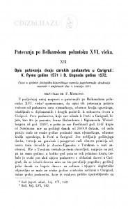 Putovanja po Balkanskom poluotoku XVI. vieka. : <12.>  Opis putovnja dvaju carskih poslanika u Carigrad: K. Ryma godine 1571 i D. Ungnada godine 1572 / P. Matković