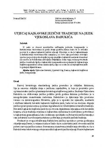 Utjecaj kajkavske jezične tradicije na jezik Vjekoslava Babukića / Ivana Klinčić