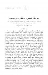 Demografske prilike u južnih Slavena / F. Vrbanić