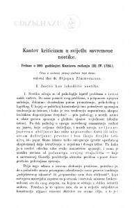 Kantov kriticizam u svijetlu savremene noetike : prikaz o 200. godišnjici Kantova rođenja (22. IV. 1724.) / S. Zimmermann