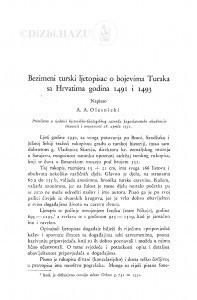 Bezimeni turski ljetopisac o bojevima Turaka sa Hrvatima godina 1491. i 1493. / A. Olesnicki