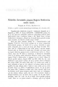 Nekoliko hrvatskih pisama Rugera Boškovića sestri Anici / V. Radatović