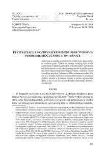 Revitalizacija koprivničke renesansne tvrđave: problemi, mogućnosti i smjernice / Robert Čimin