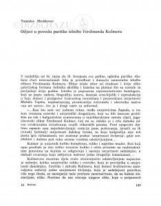 Odjeci u povodu pariške izložbe Ferdinanda Kulmera / Tomislav Hruškovec