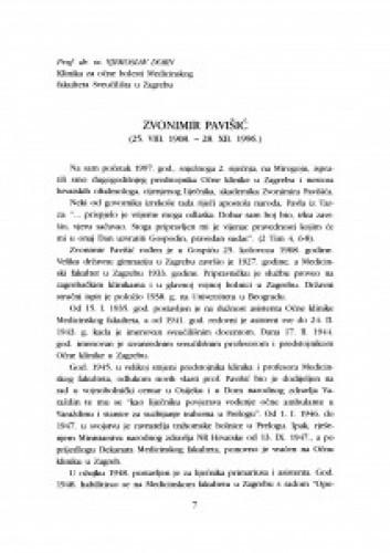 Zvonimir Pavišić : (25. VIII. 1908. - 28. XII.1996)