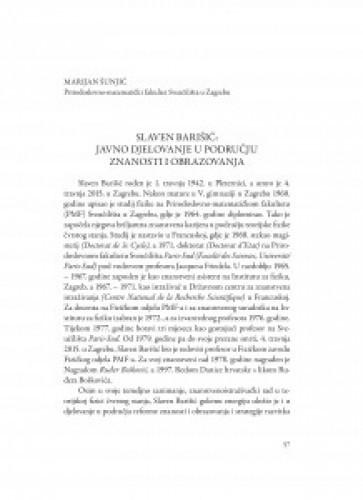 Slaven Barišić: javno dijelovanje u području znanosti i obrazovanja / Marijan Šunjić