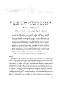 Uloga patologa u određivanju lokalne proširenosti i značajki raka dojke / Jasminka Jakić-Razumović