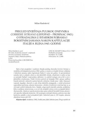 Pregled izvještaja pulskog dnevnika Corriere Istriano (listopad - prosinac 1943.) o stradalima u istarskim fojbama i boksitnim jamama nakon kapitulacije Italije 8. rujna 1943. godine / Milan Radošević