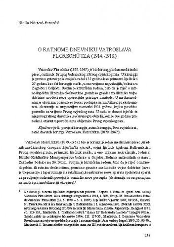 O ratnome dnevniku Vatroslava Florschütza (1914.-1918.) / Stella Fatović-Ferenčić