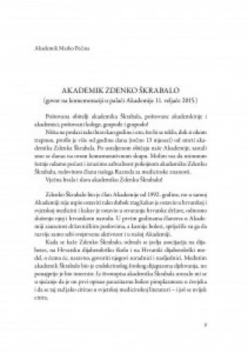 Akademik Zdenko Škrabalo : (govor na komemoraciji u palači Akademije 11. veljače 2015.) / Marko Pećina