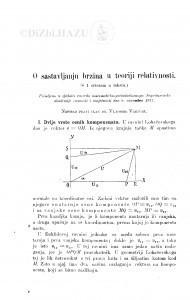 O sastavljanju brzina u teoriji relativnosti / V. Varićak