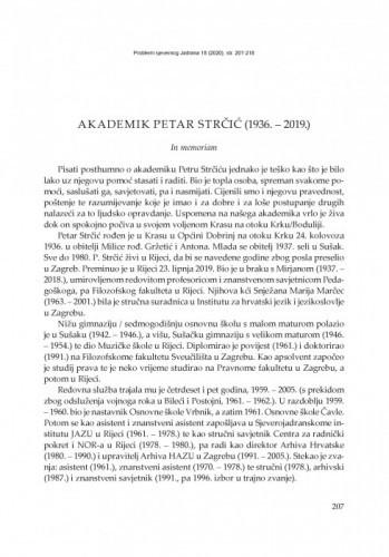 Akademik Petar Strčić (1936. – 2019.) : In memoriam / Maja Polić