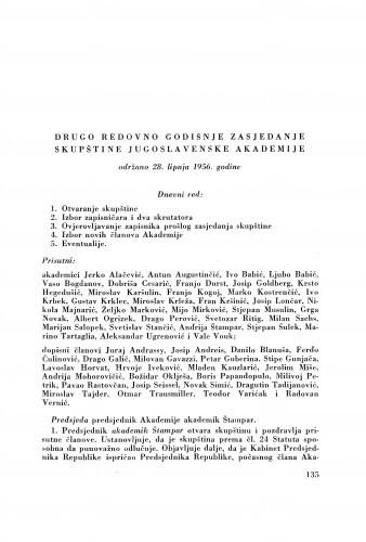 Drugo redovno godišnje zasjedanje skupštine Jugoslavenske akademije održano 28. lipnja 1956. godine
