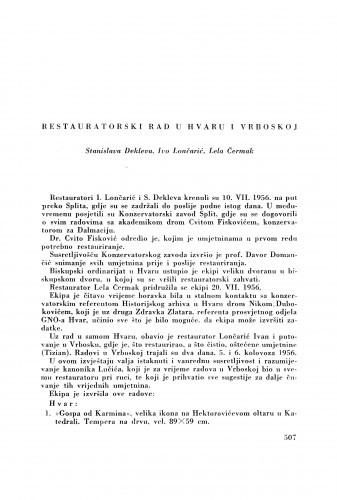 Restauratorski rad u Hvaru i Vrbovskoj / S. Dekleva, J. Lončarić i L. Čermak