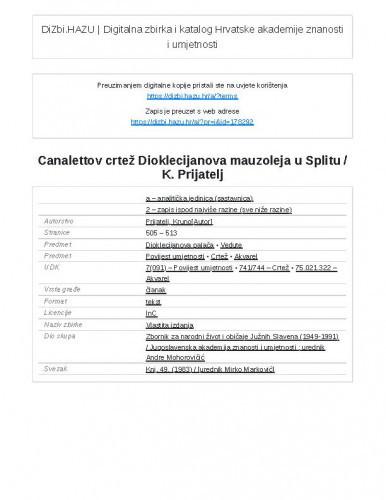 Canalettov crtež Dioklecijanova mauzoleja u Splitu / K. Prijatelj
