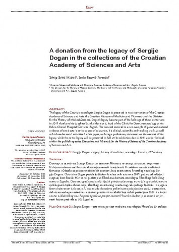 A donation from the legacy of Sergije Dogan in the collections of the Croatian Academy of Sciences and Arts / Silvija Brkić Midžić, Stella Fatović-Ferenčić