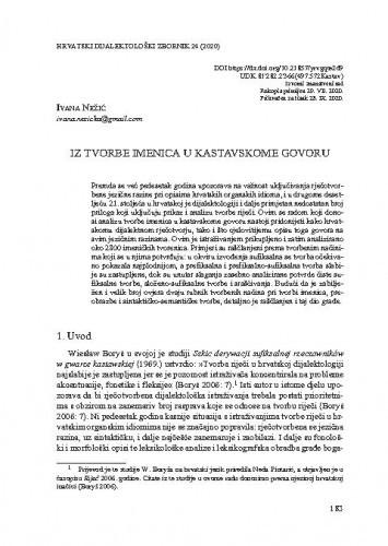 Iz tvorbe imenica u kastavskome govoru / Ivana Nežić