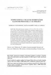 Tempo suđenja i trajanje dubrovačkih kaznenih postupaka u 18. stoljeću / Goran Cvjetinović, Ruža Radoš, Nella Lonza