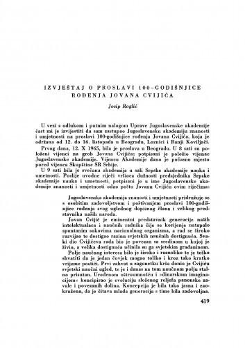 Izvještaj o proslavi 100-godišnjice rođenja Jovana Cvijića / J. Roglić