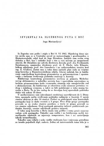 Izvještaj sa službenog puta u Beč / I. Marisavljević