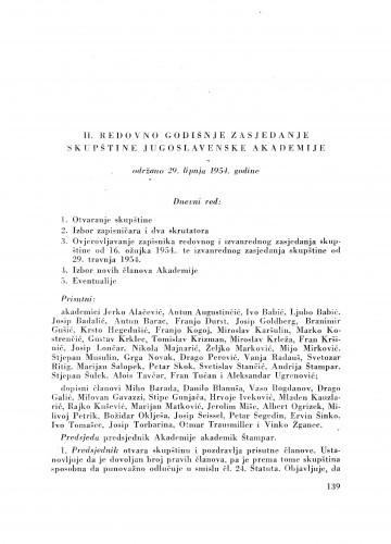 II. redovno zasjedanje skupštine Jugoslavenske akademije održano 29. lipnja 1954. godine