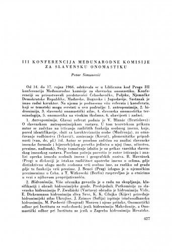 III. konferencija Međunarodne komisije za slavensku onomastiku / P. Šimunović