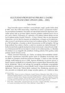 Kulturno-prosvjetne prilike u Zadru za francuske uprave (1806.-1810.) / Tado Oršolić