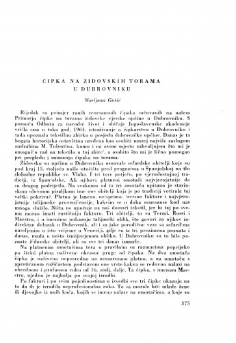 Čipka na židovskim torama u Dubrovniku / M. Gušić