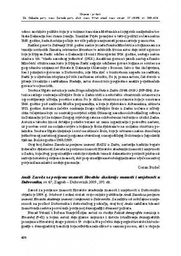 Anali Zavoda za povijesne znanosti Hrvatske akademije znanosti i umjetnosti u Dubrovniku, sv. 47, Zagreb - Dubrovnik 2009. : [prikaz] / Suzana Miljan