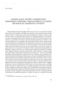 Andrija Kačić Miošić i književnost Makarskog primorja : prolegomena za jednu regionalnu književnu povijest / Davor Dukić