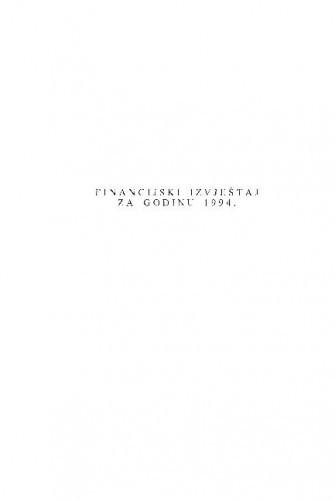 Financijski izvještaj za godinu 1994.
