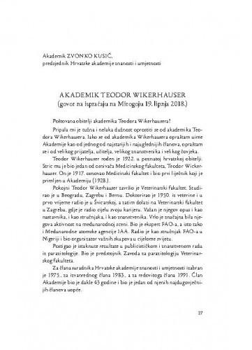 Akademik Teodor Wikerhauser : (govor na ispraćaju na Mirogoju 19. lipnja 2018.) / Zvonko Kusić