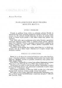 Nasljeđivanje boje polena kod Zea mays L. / A. Tavčar