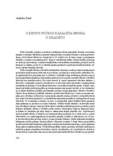 O kritici pučkog kazališta Hrvata u Gradišću / Anđelka Tutek