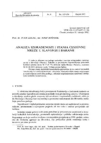 Analiza izgrađenosti i stanja cestovne mreže Slavonije i Baranje / Ivan Legac, Josip Bošnjak