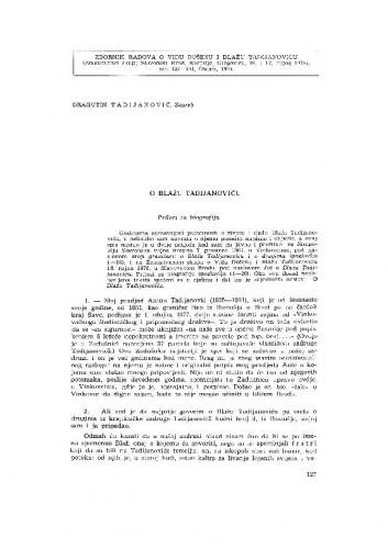 O Blažu Tadijanoviću : prilozi za biografiju / D. Tadijanović