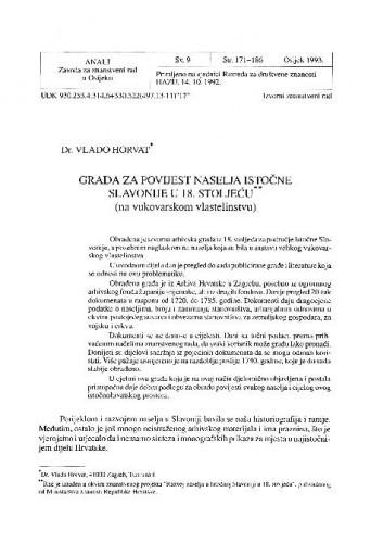 Građa za povijest naselja istočne Slavonije u 18. st. : na vukovarskom vlastelinstvu / Vlado Horvat