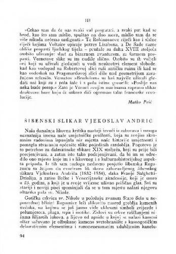 Šibenski slikar Vjekoslav Andrić / Kruno Prijatelj