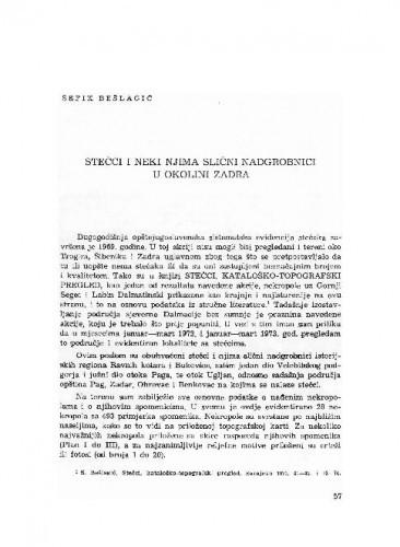 Stečci i neki njima slični nadgrobnici u okolini Zadra / Šefik Bešlagić