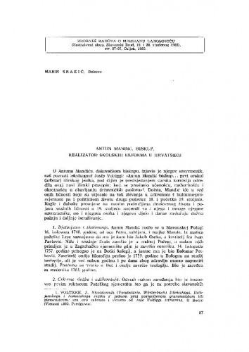 Antun Mandić, biskup, realizator školskih reformi u Hrvatskoj / M. Srakić