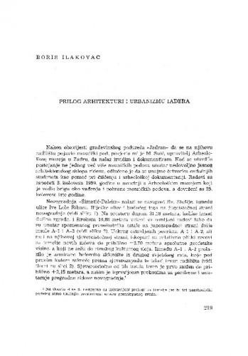 Prilog arhitekturi i urbanizmu Iadera / Boris Ilakovac