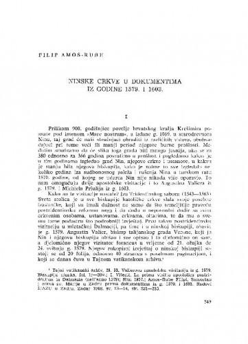 Ninske crkve u dokumentima iz godine 1579. i 1603. / Amos-Rube Filipi
