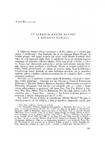 Glazbenik Frane Divnić i njegovi korali / Ante Matijević
