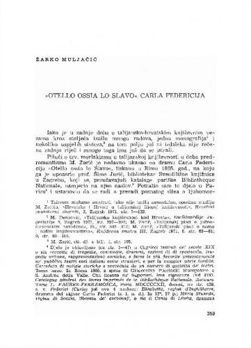 Otello ossia lo Slavo Carla Federicija / Žarko Muljačić