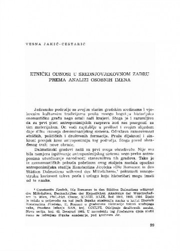 Etnički odnosi u srednjevjekovnom Zadru prema analizi osobnih imena / Vesna Jakić-Cestarić
