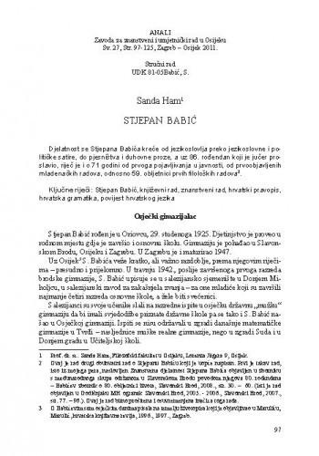 Stjepan Babić / Sanda Ham