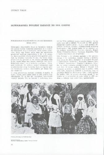 Demografska povijest Baranje do 1910. godine / Gyorgy Timar