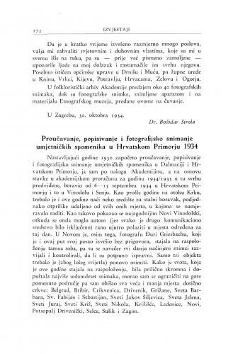 Proučavanje, popisivanje i fotografijsko snimanje umjetničkih spomenika u Hrvatskom Primorju 1934 / A. Schneider